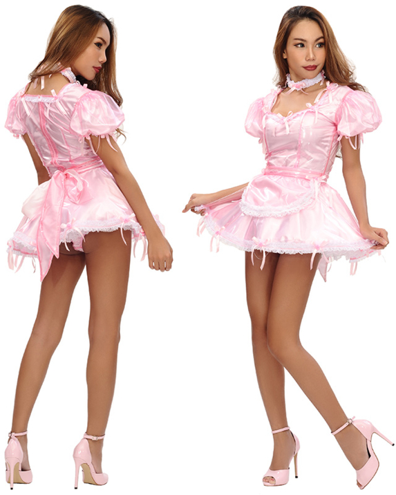 The Agustina Plastic French Maid Outfit - New From Sissy Kiss Boutique, french maid, Sissy Fashion,Dolled Up