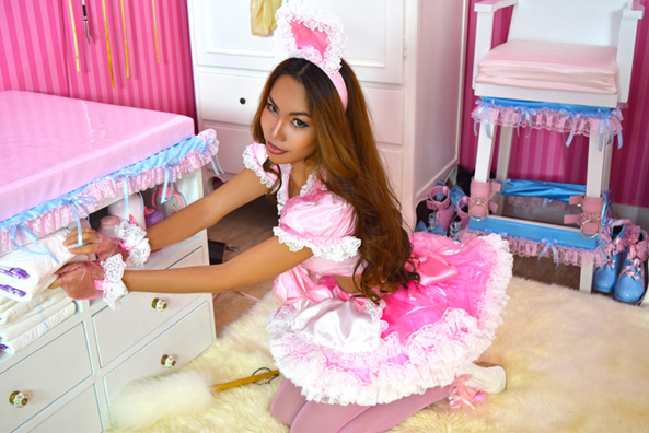 The New Sherri Plastic French Maid Outfit - A New Lovely Outfit For Sissies By Sissy Kiss Boutique, outfits,sissy dress,baby doll,lingerie, fashion sissy clothing,sissy wear, Feminization,Sissy Fashion,Dolled Up