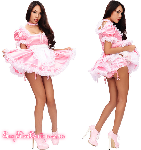 The Prissy Sissy Tinkerbelle Maid Dress ^-^ 🌸 - A Pretty Outfit From Sissy Kiss Boutique, Sissy Kiss Boutique, Feminization,Sissy Fashion,Dolled Up