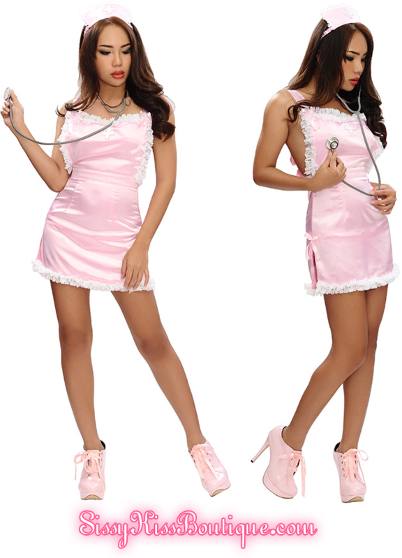 Wanna play nurse sissy dolls? ^.~ - Sissy Kiss Boutique's New Lovely Satin Bedtime Nurse Outfit 💗♡💗❀💗♡💗, sexy nurse,play nurse, Feminization,Sissy Fashion,Dolled Up