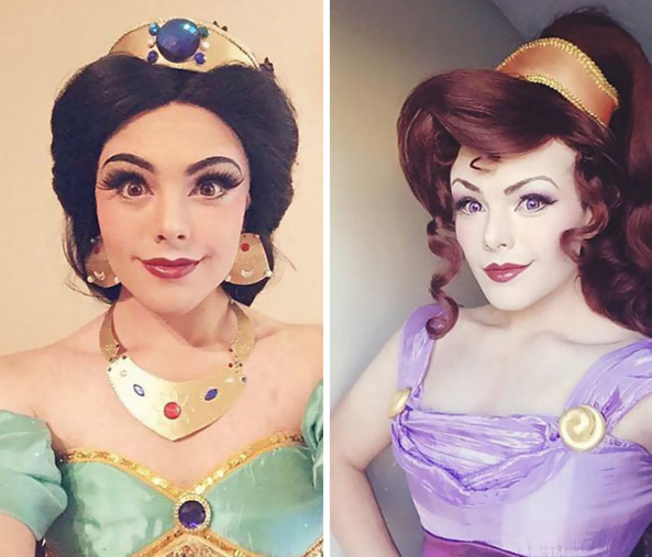 A makeup artist makes himself into Disney Princesses, Disney Princess, Feminization,Dolled Up