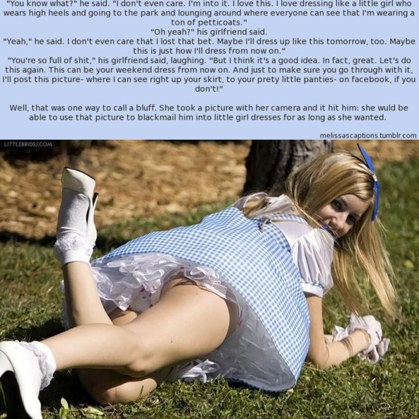 A bet led to little girl dresses!, bet,dresses, Feminization,Adult Babies,Dolled Up,Sissy Fashion
