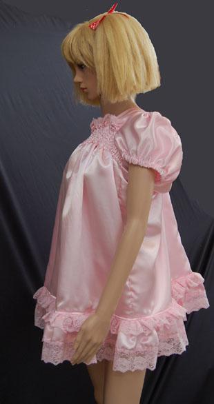 Pink satin sissy dress. - Pink satin sissy dress., Pink satin sissy dress., Sissy Fashion