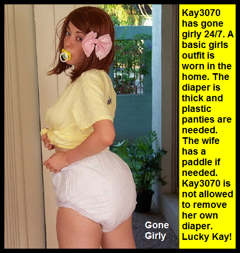 AB Nappy 1 - I have captioned Sissy Kiss friends as adult babies wearing nappies. These adult babies are sissybabies., Sissybaby,Nappy Lover,Diaper Lover,Mommy,Dominated, Adult Babies,Feminization,Identity Swap,Sissy Fashion