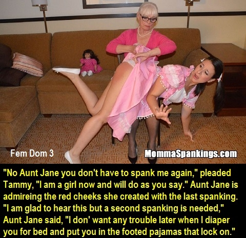 Fem Dom 1 - 3 - A three cappie story about female domination. Tuff Tommy is sent to Aunt Jane's house., Sissy,Dominate,Diaper,Aunt, Feminization,Humiliation,Spankings,Sissy Fashion