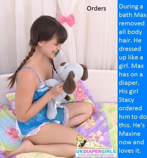 AB STYLE - Some adult baby style captions with a femininzation theme., Make Up,Diaper,Pooped,Dress Up, Adult Babies,Feminization,Identity Swap,Sissy Fashion