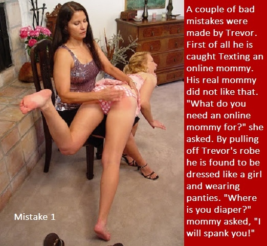 Mistake 1 - 2 - Trevor makes a couple of mistakes and gets a spanking., Diaper,Cross Dress,Punish, Spankings,Feminization