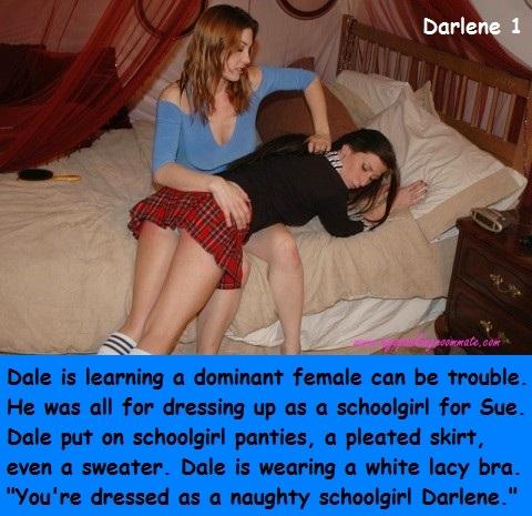 Darlene 1 - 2 - Dressing as a schoolgirl is fun until the spanking., Schoolgirl,Sissy,Panties, Spankings,Sissy Fashion