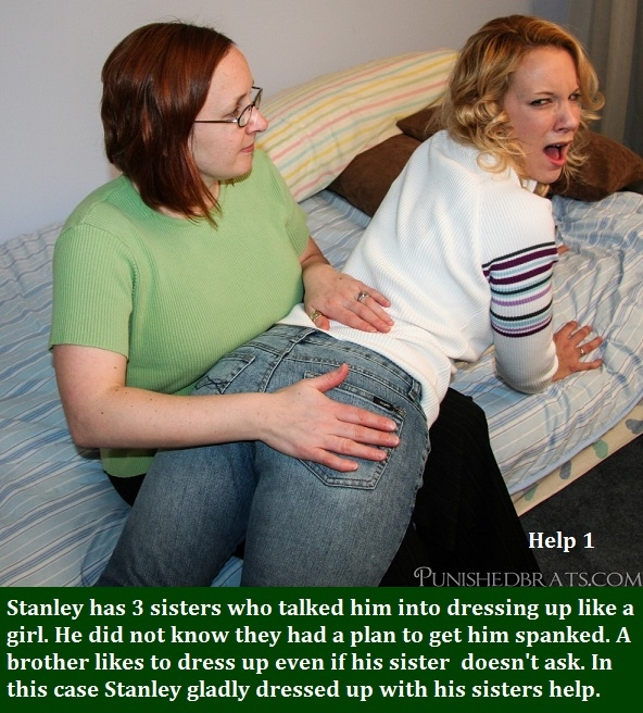 Spanking Captions - Be careful when you dress up as a female. You could get a spanking and be diapered afterward., Spank,Diaper,Panties,Sissy, Adult Babies,Feminization,Identity Swap,Sissy Fashion