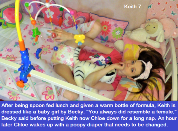 Keith 1 - 8 - This is an 8 cappie story called Back To Daycare. It is about a man called Keith who eventually becomes Baby Chloe., Daycare,Humiliation,Diapers,Sissybaby,Wetting, Adult Babies,Feminization,Identity Swap,Sissy Fashion