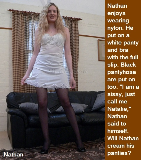 Full Slip Sissy - Many sissies love full slips and nylon undergarments. Bonus Baby Sara caption added., Full Slip,Panty,Bra,Pantyhose, Adult Babies,Feminization,Identity Swap,Sissy Fashion