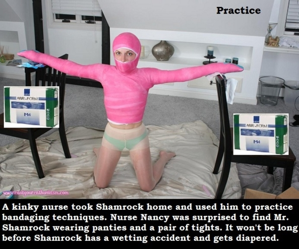 Nursing Duties - Shamrock has some problems and must be bandaged and taken care of by a nurse., Nurse,Bandage,Restrained,Diaper, Adult Babies,Feminization,Identity Swap,Sissy Fashion