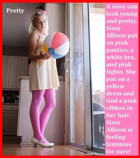 Sissyallison - I have captioned Sissyallison in a dress. Bonus time out caption added., Sissy,Panties,Bra,Dress, Feminization,Identity Swap,Sissy Fashion,Wedding