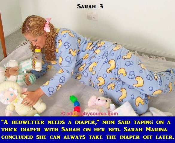 Sarah 1 - 4 - A caption story about footed pajamas as requested by Sarah Marina., Mommy,Diaper,Trapped,Pajamas, Adult Babies,Feminization,Identity Swap,Sissy Fashion