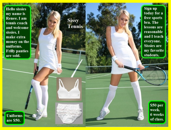 Tennis Anyone? - Sissy tennis lessons are being offered for a great price., Sissy,Panty,Dress,Bra,Tennis, Feminization,Identity Swap,Sissy Fashion