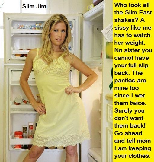 Full Slip Sissy - Many sissies love full slips and nylon undergarments. Bonus Baby Sara caption added., Full Slip,Panty,Bra,Pantyhose, Adult Babies,Feminization,Identity Swap,Sissy Fashion