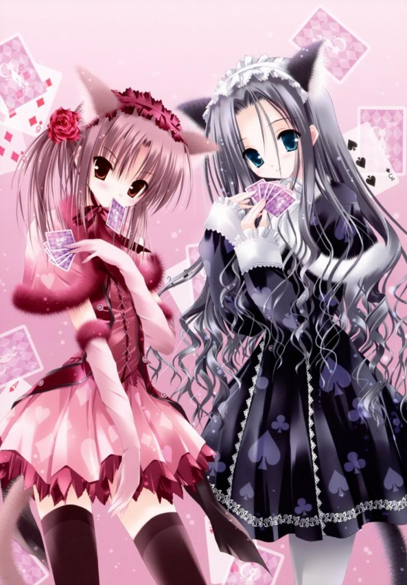 2 Cute lil Neko Kitty Girls Playing Card Games