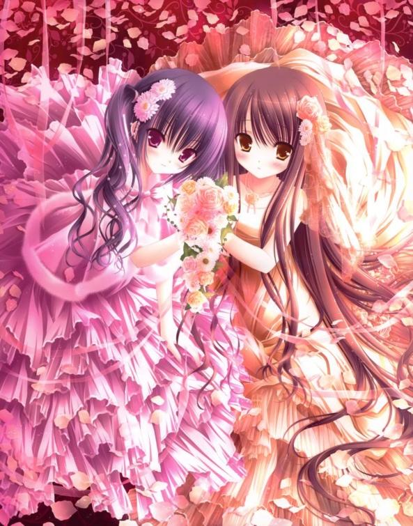 2 Very cute lil Flower Girls Wearing Beautiful Dresses