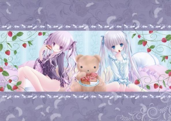 2 Cute lil Girls & Their Teddy Bear Having Tea Party