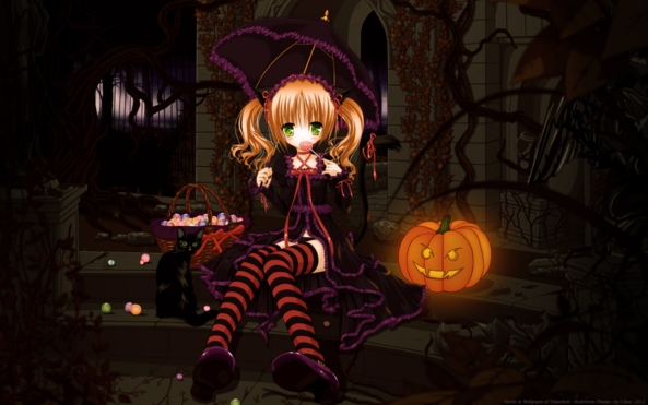 Very Cute lil Girl Halloween Night Eating Yummy Candy