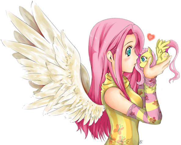 Fluttershy Girl Holding A Tiny Version Of Fluttershy