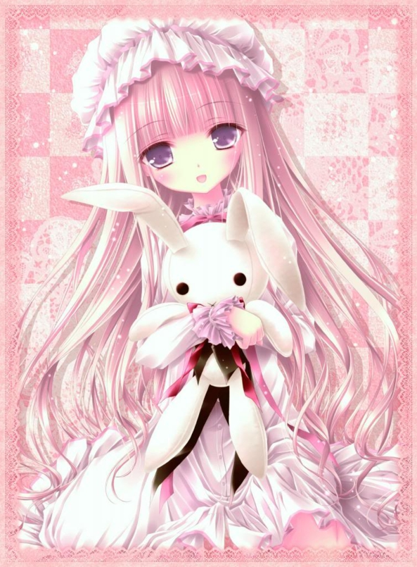 Cute lil Girl Holding Her Cute Stuffed Bunny Plushie