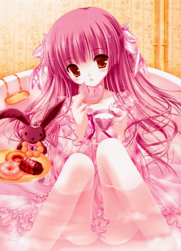 Cute lil Girl Sitting In Her Bath Eating Yummy Treats