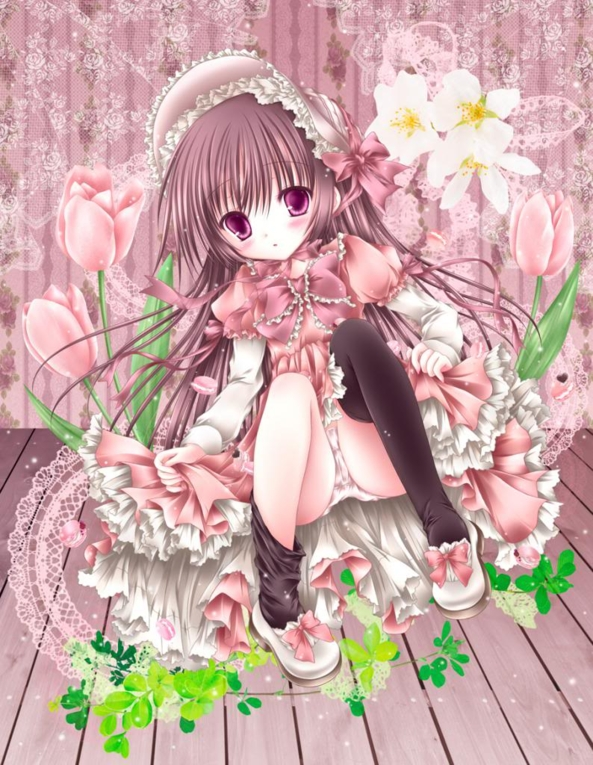 Cute lil Girl Surrounded By Pretty Lace & Flowers