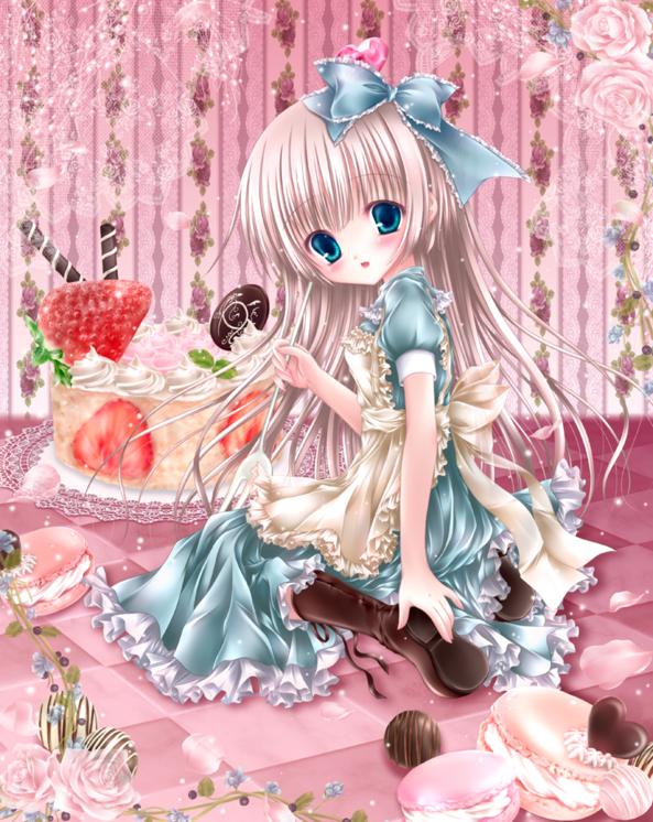 Cute lil Girl Eating Yummy Strawberry Cake