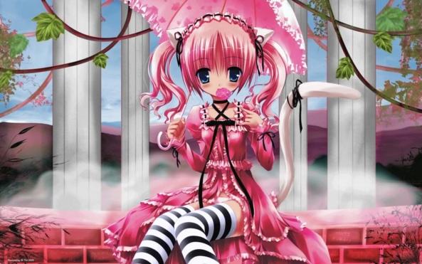 Cute lil Neko Kitty Girl Eating A Yummy Lollipop