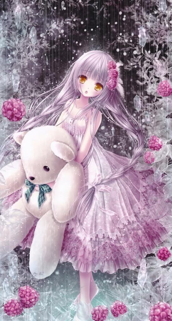 Very Cute lil Girl Holding A Very Cute Big Teddy Bear
