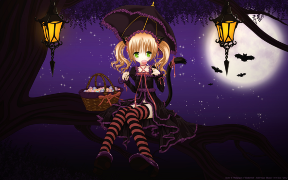 Very Cute lil Girl On Halloween Night Eating Candy