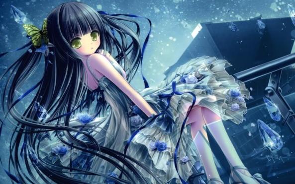 Very Cute lil Girl Raining Blue Diamonds
