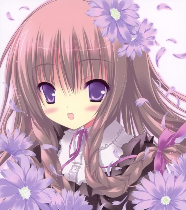 Cute lil Girl Surrounded By Pretty Purple Flowers