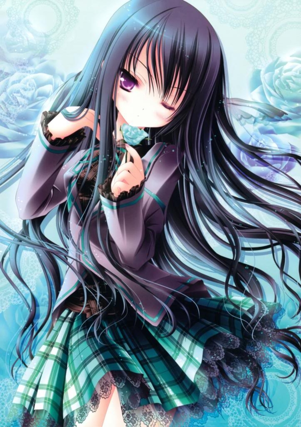 Cute lil Girl Holding A Pretty Blue Rose