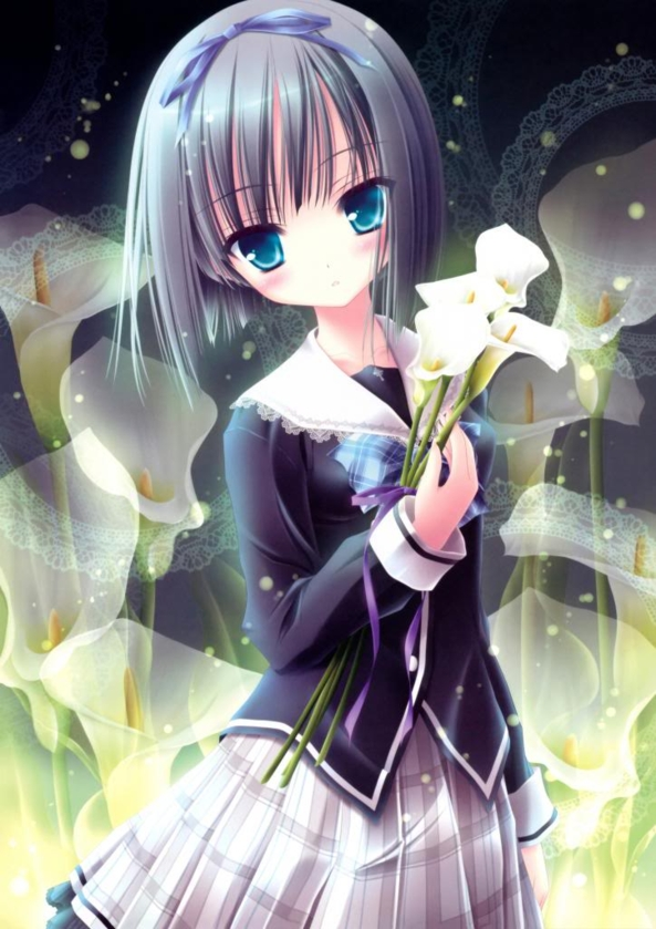 Very Cute lil Girl With Pretty White Flowers