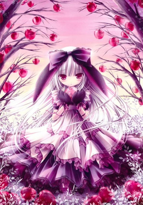 Very Cute lil Neko Bunny Girl Holding A Yummy Apple