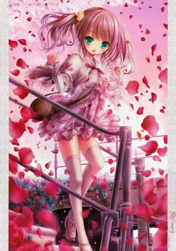 Very Cute lil Girl Surrounded By Pretty Rose Petals