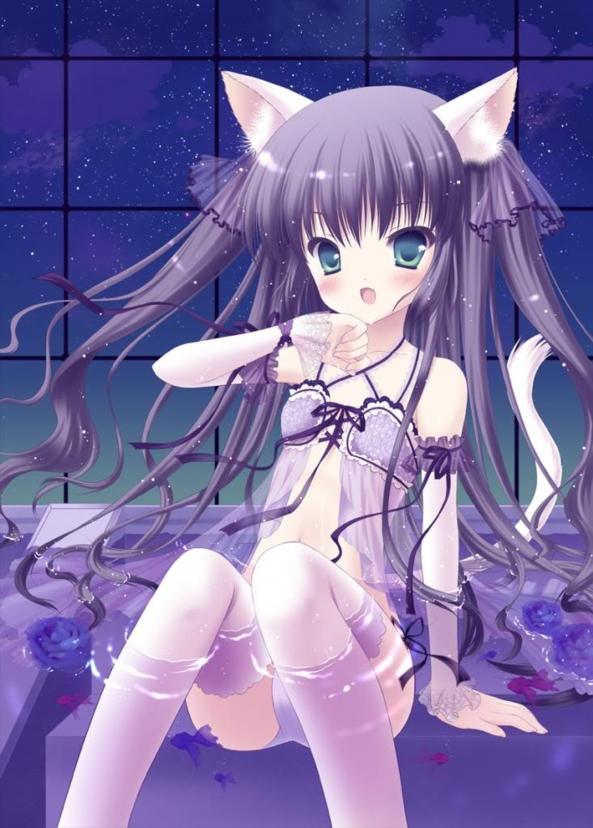 Very Cute lil Neko Kitty Girl Taking A Bath