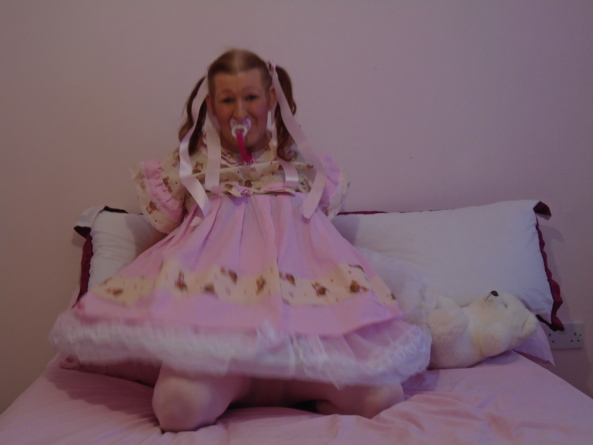 bigbabykimberly - bigbabykimberlyjane's posing in her pretty pink baby's dress with teddy bears on it, adult baby girl, Adult Babies