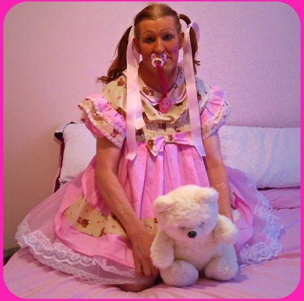 Bigbaby Kimberly Jane  - Pink Teddy bear baby dress 👗 , Bigbaby girl , Adult Babies