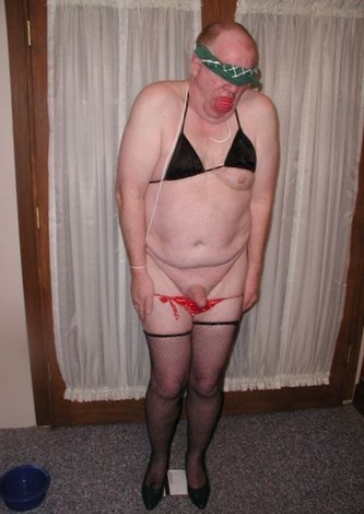 Humiliated sissy, sissy bra and panties