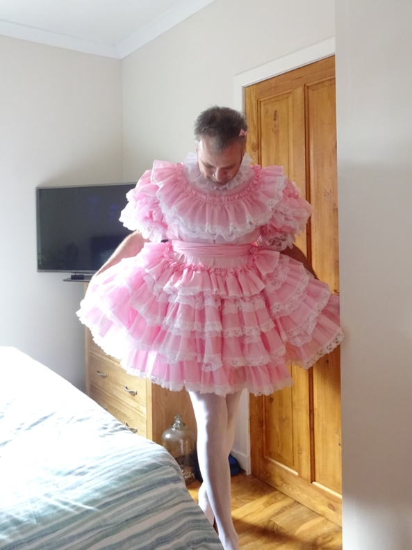 Hello Everybody - Myself all in my lovely pink party frock, Sissy,Dress,Pink,Frock,bow,tights, Dolled Up,Adult Babies,Feminization,Sissy Fashion