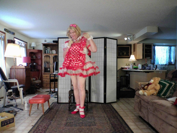 Polka Dot Red and oh so prissy - My Barbara Tam red Polkadot Maid dress, sissy,crossdress,polka-dot,, Feminization,Dolled Up,Sissy Fashion