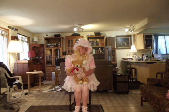 Just Me - Mix and match a dress a bonnet and a pinafore , sissy,pink,, Feminization,Dolled Up