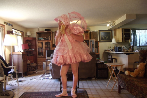 Deep in thought - Should I go out and play or be prim indoors?, sissy,crossdress,pink,, Feminization,Dolled Up,Sissy Fashion