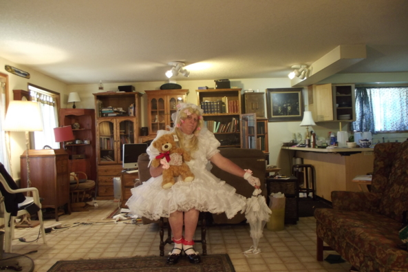 family portrait? - just me and Teddy, sissy,communion,, Feminization,Dolled Up,Fairytale,Sissy Fashion,Wedding