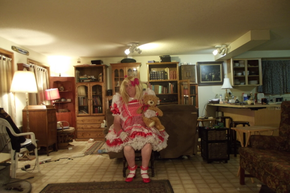 The Sissy in Red - a red pinafore dress.  Teddy says its scratchy, sissy,pinafore,, Feminization,Dolled Up,Sissy Fashion