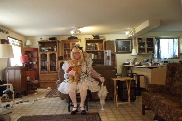 Well Maid?   - all Maid up?  Teddy is comfy, sissy,maid,, Feminization,Dolled Up,Sissy Fashion