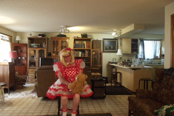 My red polka dot dress - being  the proper little lady, sissy,crossdress,little lady,, Feminization,Dolled Up,Sissy Fashion